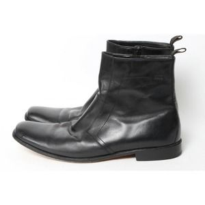 HUGO BOSS Men's Black Leather Square Toe Ankle Boots Booties Size 11